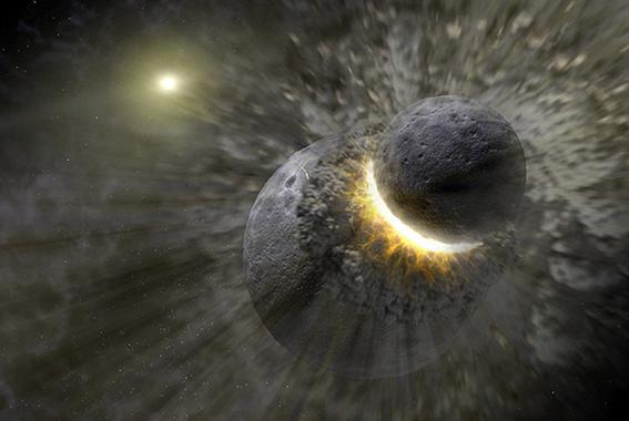 Simulación del choque entre Theia y la Tierra.