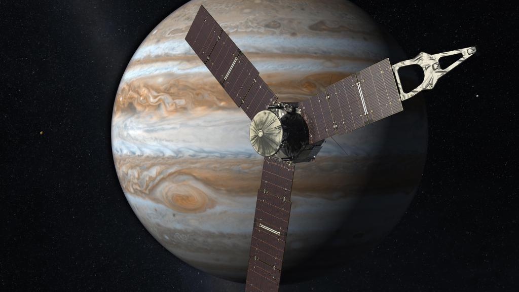 Ilustración artística de la sonda Juno aproximándose a Júpiter