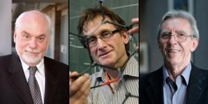 Los ganadores del Nobel de Química 2016:Fraser Stoddart, Bernard Feringa and Jean-Pierre Sauvage.
