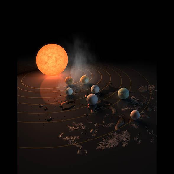 Imagen artística del sistema Trappist-1 (NASA)