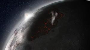 Ilustración de la antigua actividad volcánica en la Luna.