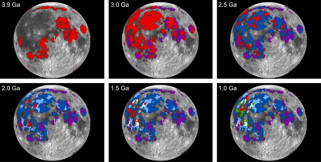Imágenes de la erupciones de lava lunares (áreas rojas) cada 500 millones de años.