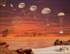 Recreación artística del descenso de la sonda Huygens sobre Titán.