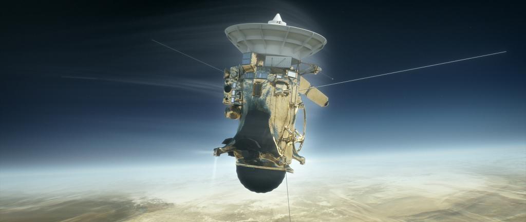 Recreación artística de Cassini entrando en la atmósfera de Saturno para autodestruirse.